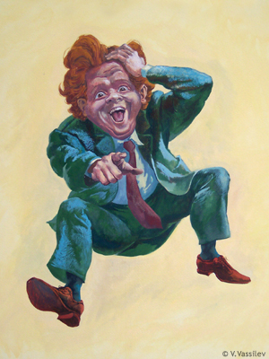 Laughing Man. Vesselin Vassilev. Gouache painting.