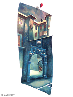 The Gate of the Alchemist - Chambéry. Vesselin Vassilev. Gouache painting.