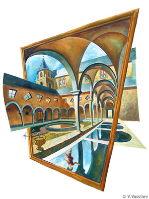 Claustromania - Chambery, The Cathedral. Vesselin Vassilev. Gouache painting.