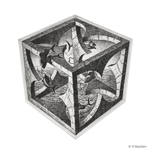 Cube. Vesselin Vassilev. Etching.